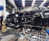 Smash Repair L & M frame repairs being conducted